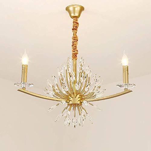 Home Equipment E14 American Raindrop Lámpara colgante Modernas candelabros de rama pequeña con marco de metal Lámpara de techo con forma de vela con cristales transparentes de policarbonato Do