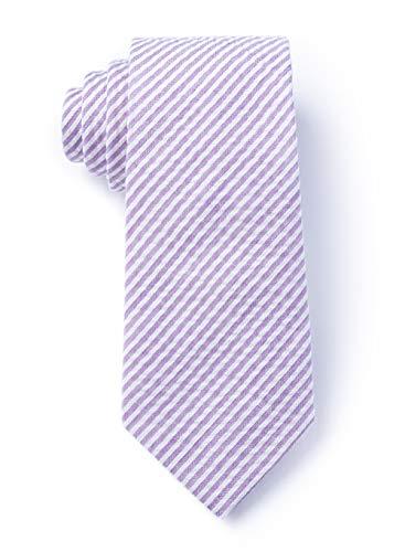 Men's Classic Hipster Seersucker Cotton Stripe XL Extra Long Necktie Tie (Lavender Purple)