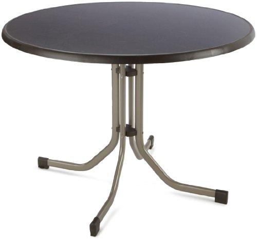 SIEGER 272/C-M Boulevard-Klapptisch, ø 100 cm Aluminiumgestell champagner, Mecalit-Pro-Tischplatte Schieferdekor mocca, Tischhöhe ca. 72 cm