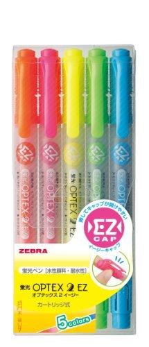 (まとめ買い) ゼブラ 蛍光オプテックス2-EZ 5色セット WKT11-5C 【×5】