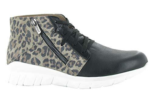 NAOT Footwear Women's Polaris Lace Up Shoe Soft Black Lthr/Cheetah Suede 11 M US