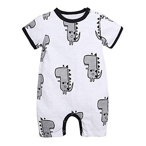 Kinder Overall,0-24 Monate Babykleidung Neugeborene Baby Jungen Cartoon Dinosaurier Overall Baby Schlafanzug(Weiß,0-3 Monate/59)
