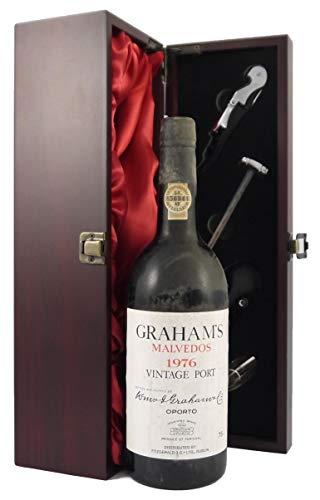Grahams Malvedos Vintage Port 1976 en una caja de regalo forrada de seda con cuatro accesorios de vino, 1 x 750ml