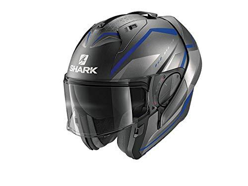 SHARK Herren NC Motorrad Helm, Grau/Blau, M