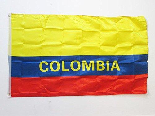 AZ FLAG Flagge KOLUMBIEN MIT ANMELDUNGEN 150x90cm Satin - KOLUMBIANISCHE Fahne 90 x 150 cm - flaggen Top Qualität