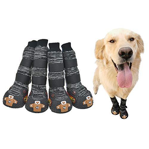 FLAdorepet Hundesocken Stiefel mit Riemen, Wanderschuhe für mittelgroße und große Hunde, Gummisohle, rutschfest, gestrickt, für Bulldogge, Husky, Labrador, 4 Stück