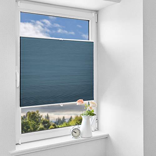 HOMEDEMO Wabenplissee Klemmfix Verdunkelung Thermo Plisseerollo mit Klemmträger (Weiß-Blau, 50x140cm), Zweifarbig plisseerollo 100% Verdunklung, Sichtschutz und Sonnenschutz für Fenster und Tür