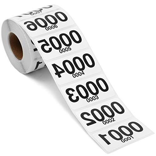 Reverse Number Stickers for Live Sale, Numbers 0001-0500 (2 x 1 in, 500 Pack)