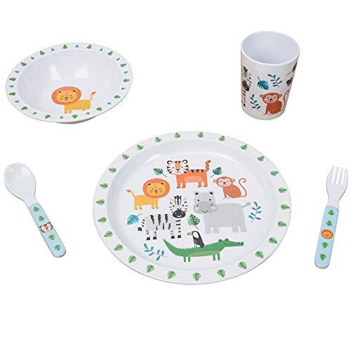 Jungle Baby - Juego de desayuno/cena (melamina, 5 piezas)