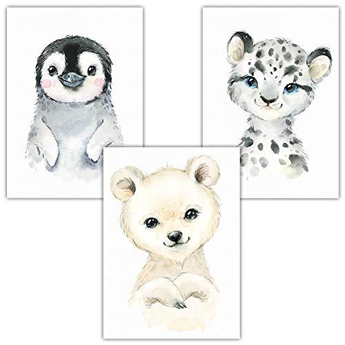 Frechdax® 3er Set Wandbilder Bilder Kinderzimmer Poster | Waldtiere Safari Afrika Tiere Porträt Tierposter (3er Set Pinguin, Eisbär, Schnee Leo)