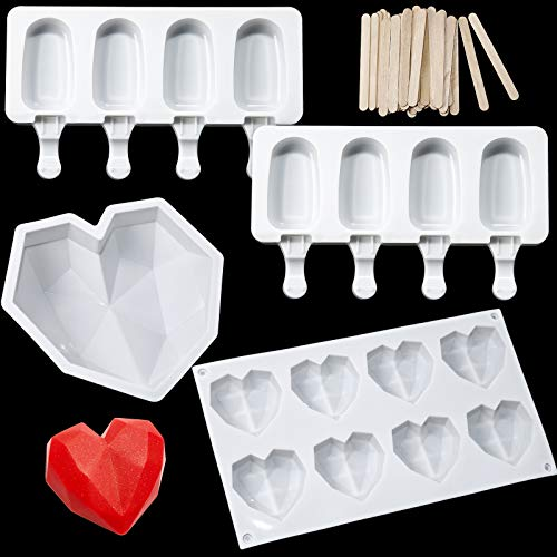 Diamond Heart Silicone Cake Mold Trays 8.7 Inch, 8 Cup Diamond Heart Shaped Cake Mold Tray, 2 Pieces 4 Cavities Popsicle Molds Ice Pop Molds with 50 Pieces Wooden Sticks for DIY Valentine's Day Cake