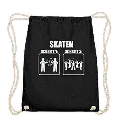 EBENBLATT Lustig Skaten Anleitung Tutorial Skater Skateboard Waveboard über die Halfpipe Geschenk - Baumwoll Gymsac -37cm-46cm-Schwarz
