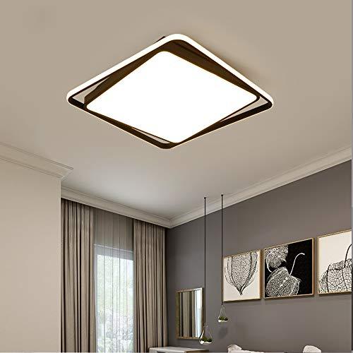 LED-slaapkamer lamp woonkamer lamp Vierkant Zwart plafondlamp Acryl lampenkap ijzeren frame met op afstand bedienbare dimbare plafondlamp 3000K-6000K, drie grootte-opties,L52cm~44w