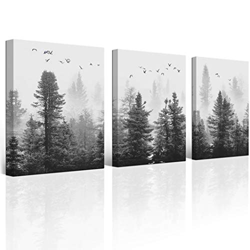 wall26 3 Piece Canvas Wall Art - Abstract Black and White Splash Artwork -