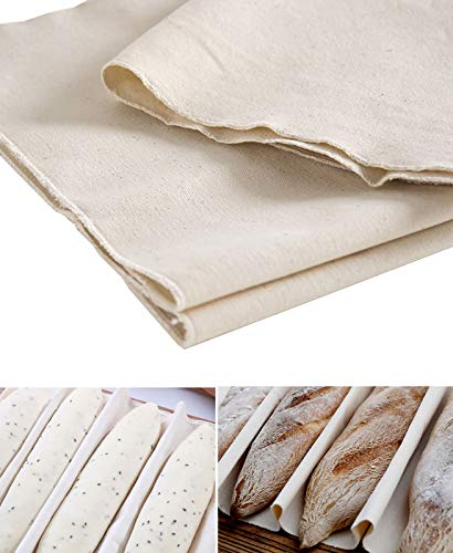N/ A Tarklanda Professional Bakers Dough Couche Large Bread Proofing Cloth (35'' × 24'') Natural Heavy Duty Linen Proofing Cloth for Baking French Bread Baguettes Loafs