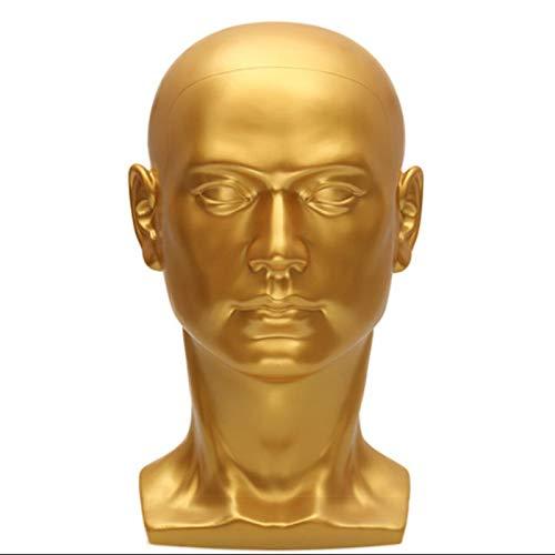 Haudang M?Nnliche Schaufenster Puppe Puppe Kopf Modell PerüCkeAusbildung Styling Kopf Stehen für PerüCke Hut Sonnen Brille Display Zeigt Regal Gold