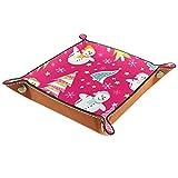 Bandeja de cuero,navidad muñeco de nieve de color rosa ,Bandeja de cuero plegable para reloj de joyería de monedas de llave de almacenamiento