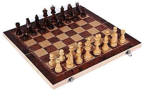 WCY Juego de ajedrez Juegos Viajes Adultos Niños Tablero Ajedrez 3 en 1 Backgammon Madera Ajedrez Internacional Juego Juegos de Viaje Juegos de Viaje Chess Backgammon yqaae