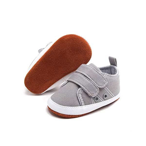 BEBARFER Baby Boys Girls Shoes Infant Canvas Sneakers Soft 100% Leather Anti-Slip Sole Adjustable Hook and Loop Newborn Toddler First Walker Crib Shoes