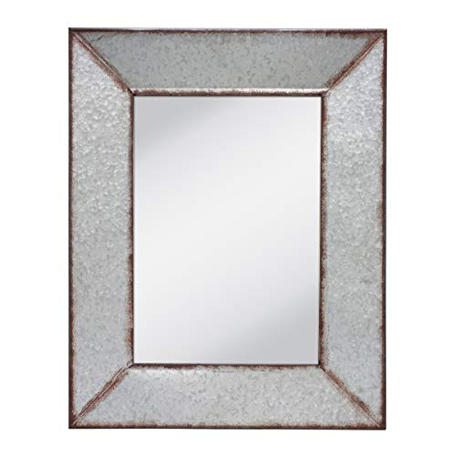 Stonebriar Rustic Rectangular Galvanized Metal Frame Hanging Wall Mirror, -