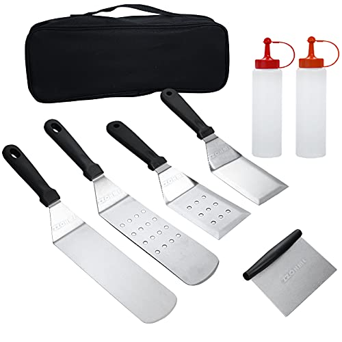 ZZCHML Griddle Grill Tools Set Accessories Cooking Kit, 7 Pcs Professional Flat Top Grilling Blackstone and Camping Cook BBQ Tool for Hibachi, Teppanyaki, Camping Outdoor Can Used for Gift