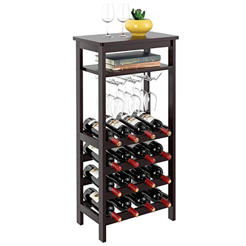 Homfa Bamboo Wine Rack Free Standing Wine Holder Display Shelves with Glass Holder Rack, 16 Bottles Stackable Capacity for Home Kitchen, Espresso