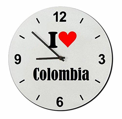 Druckerlebnis24 Exclusivo: Vidrio de Reloj I Love Colombia una Gran Idea para un Regalo para su Pareja, colegas y Muchos más! - Reloj, Regaluhr, Regalo, Amo, Made in Germany.