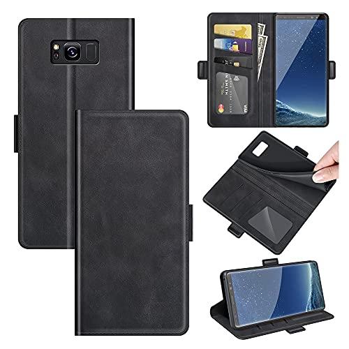 AKC Funda Compatible para Samsung Galaxy S8 Carcasa Caja Case con Flip Folio Funda Cuero Premium Cover Libro Cartera Magnético Caso Tarjetero y Suporte-Negro