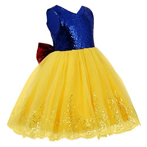 IWEMEK Blancanieves Princesa Disfraz de Halloween Bebé Niñas Vestido de Fiesta Largo...