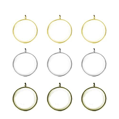 Stiesy 30pcs/Set Ring Open Back Bezel Pendants Hollow Frame Pendant Blanks for DIY UV Resin Epoxy Resin Pressed Flower Jewellery - 32.5x28.5x4.5mm