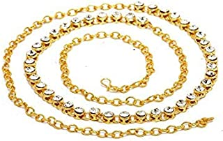sanjog One Line Metal White Kamarband Belly Chains for Women