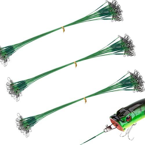 YOTO Acero Sedales de Pesca con Anzuelo Sedales de Pesca de Acero Inoxidable Alambre de señuelo de fluorocarbono Negro/Plata/Verde Cables de Acero de Pesca (Verde, 20 Piezas)