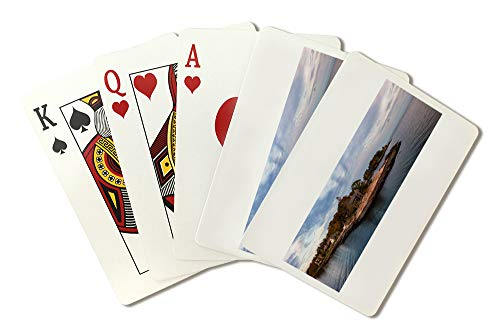 New Haven, Connecticut - Panoramic Seascape View of Beautiful Homes on a Rocky Atlantic Coast A-9010890 (Playing Card Deck - 52 Card Poker Size with Jokers)