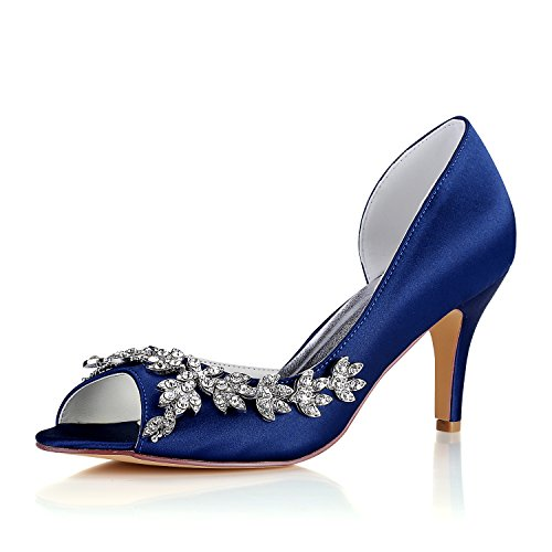 Emily Bridal Zapatos Nupciales Zapatos de Madre Azul Profundo Peep Toe Rhinestones...