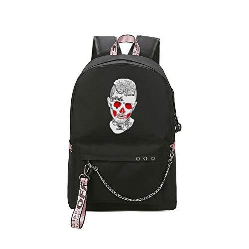 Lil PEEP Schulrucksack Schöner Rucksack-wasserfester Campus-Schulreise-Daypack-Geschäfts-Rucksack für Frauen Unisex (Color : Black09, Size : 30 X 13 X 43cm)