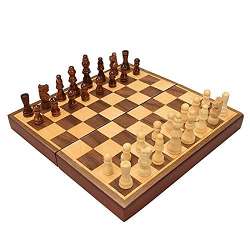 Flystoo Juego de ajedrez portátil Plegable Juego de ajedrez de Madera Piezas de Madera sólida Juegos de Mesa de Tablero de hogar Juego Juego de Mesa de Viaje Aire Exterior (Color : Wooden Chess)