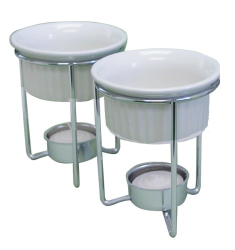 R&M International 7610 Ceramic Butter Warmer Dishes with Chrome-Plated Steel Frames, Set of 2