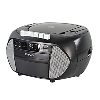 Craig CD6951-SL Portable Top-Loading CD Boombox with AM/FM Stereo Radio and Cassette Player/Recorder in Black and Silver | 6 Key Cassette Player/Recorder | LED Display |  Renewed