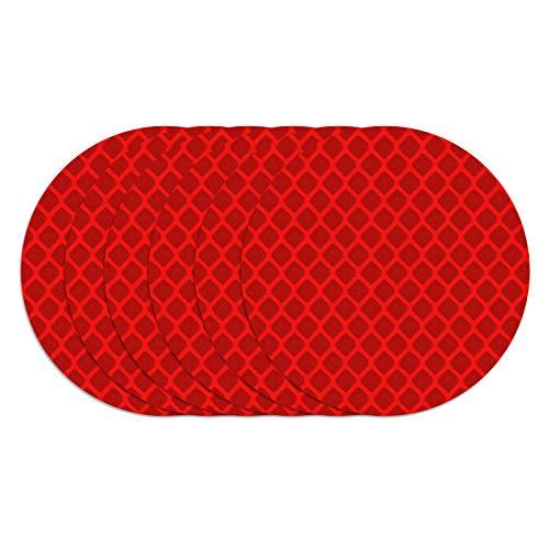 Olymajy Reflector Trasero, catadioptrico Moto, Reflector Trasero Redondo Cuadrado Rectangular Autoadhesivo de 6 Piezas, Pegatinas Reflectantes Rojas para Coche, Motocicleta(Redondo)