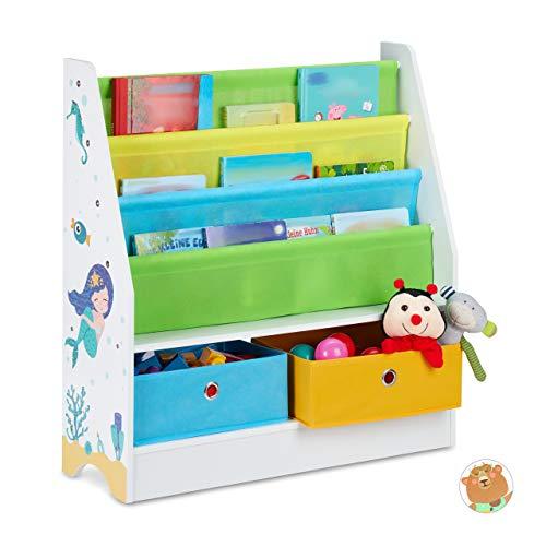Relaxdays Kinderregal Meermotiv, 2 Boxen, 3 Fächer, Spielzeug Aufbewahrung, Kinder Bücherregal HBT 74 x 71 x 23 cm, bunt