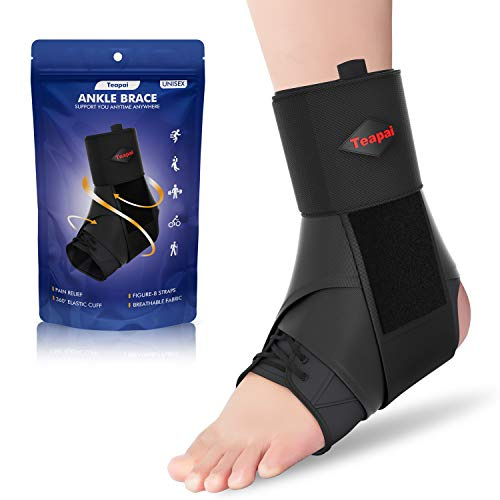 Teapai Ankle Brace for Women Men, Comfortable Ankle Support Brace, Adjustable Lace Up Ankle Brace for Sprained Ankle, Injury Recovery, Pain Relief, Running, Basketball, Volleyball, Football