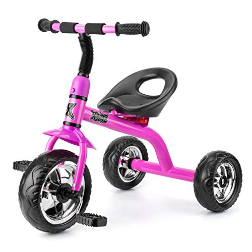 Xootz Tricycle for Kids, Trike Easy Clip and Portable - Pink