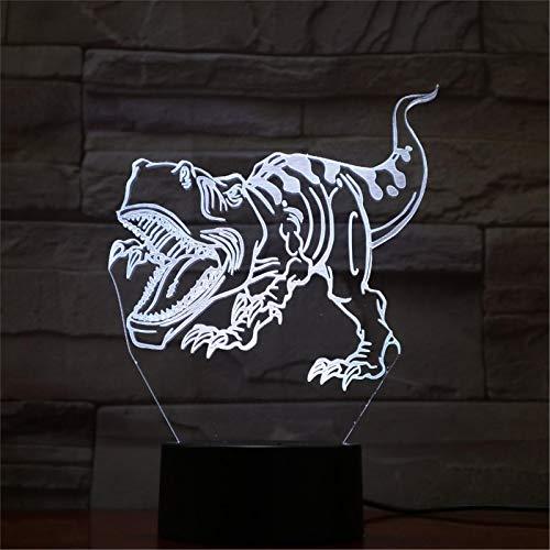 LBJZD luz de noche Dinosaurio Led Adorable Animal Lámpara De Noche Creativa Acrílico Luces 3D Lámpara De Mesa Para Dormitorio De Bebé Con Cable Usb Con Mando A Distancia