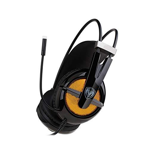 QinWenYan Auriculares para Juegos Auriculares de Juego Gobierno Profundo SERREO SEDIRBLE Audio AURICULARIO PC Portátil (Color : White, Size : One Size)