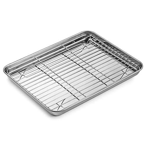 WEZVIX Stainless Steel Baking Sheet with Rack Set Tray Cookie Sheet & Oven Pan 12.5 x 10 x 1 inch, Non Toxic & Healthy, Rust Free & Less Stick, Thick & Sturdy, Easy Clean & Dishwasher Safe