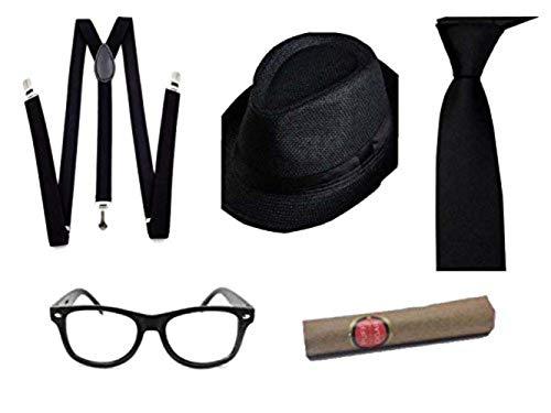 Al Capone Mafia Gangster Gorra + Lazo + Tirantes + cigarro - 20s Disfraz para Mujer y Hombre Carnaval (Negro)