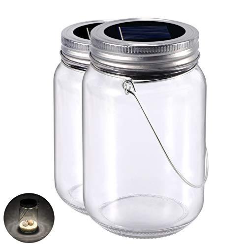 Solarlampen Glas, 2-Pack Glasleuchte Warmweiss Solarleuchte Im Einmachglas, Wasserdichte Led Solar Laterne Beleuchtung für Party, Hochzeit, Garten, Balkon, Camping