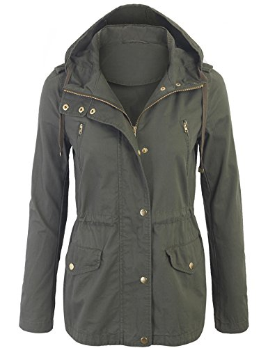 Kogmo Womens Zip Up Military Anorak Safari Jacket with Hoodie-S-OLIVE