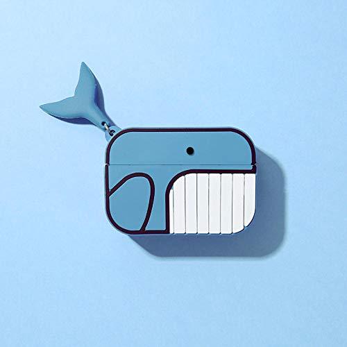 Whale Clownfish compatible con Air Pods 1/2 Pro Funda de auriculares Bluetooth con funda de silicona inalámbrica azul + Gancho Air Pods Pro