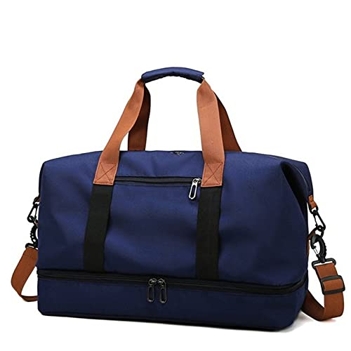 YYDM Bolsa de viaje para mujer, impermeable, de gran capacidad, bolsa de viaje para fin de semana, ligera, bolsa de viaje, color azul